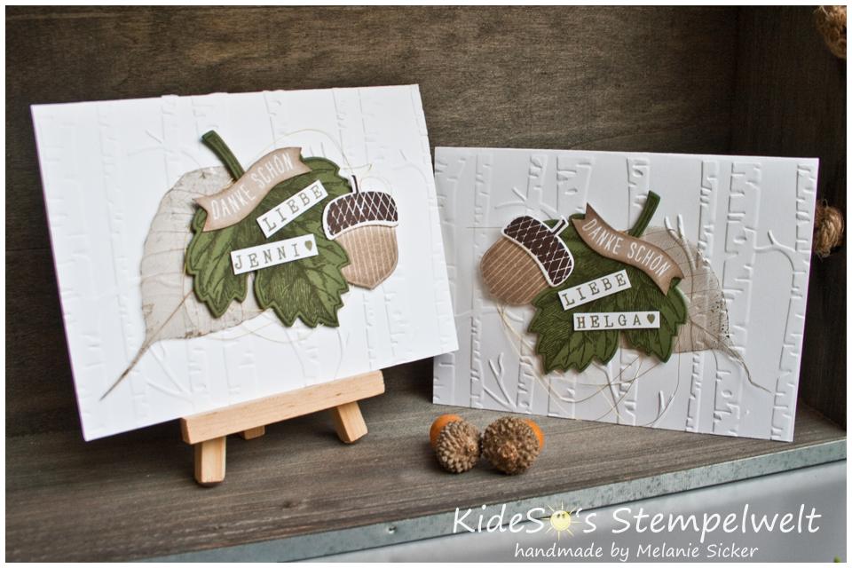 Karte Vintage Leaves, Woodland Textures, Im Wald, Stampin Up, Kideso's Bocholt